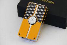COHIBA Original yellow rectangle classic 3 Windproof Jet Cigar lighter w/puncher