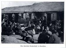 Eine chinesische Strassenschule in Kiautschau. Momentaufnahme von 1910
