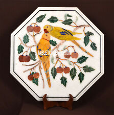 21'' White Marble Coffee Side Top Table Marquetry Parrot Art Inlay Outdoor Decor