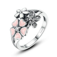 New 925 Sterling Silver Pink Enamel Spring Cherry Blossom Clear CZ Ring Size 6-8