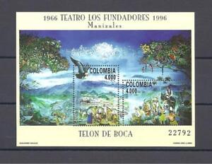 COLOMBIA 1996 LOS FUNDADORES TEATHER - PHLIATELIC SHEET  MNH