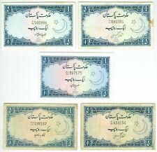 LOT OF 5 PAKISTAN 1 RUPEES NOTES 1953-1964 P9, P9A, MIXED SIGNATURES