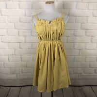 Love Stitch Womens Yellow Cotton Sun dress Strappy S  SLD1