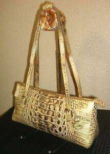 Brahmin Gorgeous Baguette Croc Embossed Cream/Gold Leather Shoulder Bag EUC!
