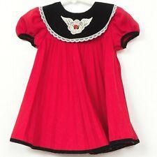 Expressions Party Dress 18 Mo VTG Red Black Velvet Collar Rosette Christmas Girl