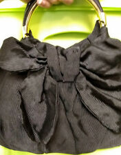Lulu Guinness Handbag Black Tie Medium Satchel Fabric Bow Patent Leather