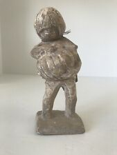 """Vintage Austin Products Sculpture Boy With Pumpkin With Tag RARE 7"""" tall"""