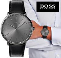 Original Hugo Boss 1513540 Horizon Herrenuhr Leder Schwarz/Gunmetall NEU