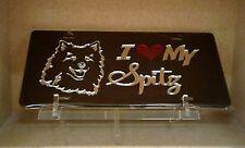 I Love My Spitz (black) acrylic mirror laser cut license plate dog pet breed