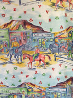 Vintage western town cowboys horses mid century drapery panels curtains!