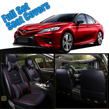 Black&Red PU Leather Car Seat Covers Full Set Front Rear Seat Cushion For Camry