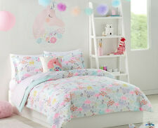 Pastel Unicorns & Flowers Girls Full Comforter Set (7 Piece Bed In A Bag)