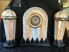 Antique AMC Belgium Jugendstil  large clock mantle set. Marked bottom