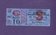 8/10/1975 Montreal Expos @ Cincinnati Reds Baseball Ticket Stub