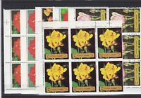 Fujeira Roses Mixed Colours Mint Never Hinged Stamps Blocks Ref 27806