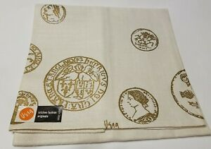 Vintage Linen Tea Towel VERA Neumann COINS w Tag NOS