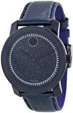 BRAND NEW MOVADO BOLD 3600229 NAVY PATENT LEATHER & GLITTER DIAL WOMEN'S WATCH