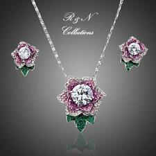 Platinum Plated Made W/Swarovski Crystal Flower Stud Earrings & Necklace Set 619