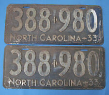 1933 North Carolina license plates matched pair