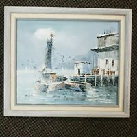 Harbor boat Dock Hand Painted Original Oil Painting by Florance Ocean Boats Sea