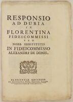 RESPONSO AD DUBIA IN FLORENTINA FIDEICOMMISSI DE DONIS DE MARERIS 1740 DIRITTO