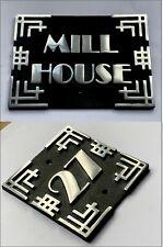 Art Deco Cast Aluminium House Name + Number Sign Metal Plaque Address