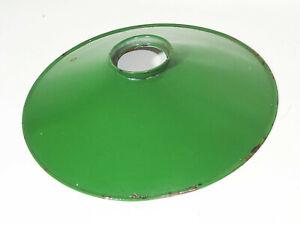 Alter Emaille Lampenschirm grün/weiss Ø 25 cm Ersatzschirm Vintage Email !