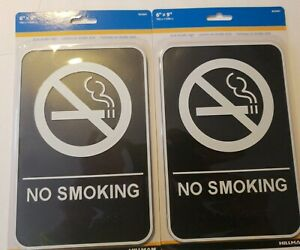 """Hillman ADA Compliant 6"""" x 9"""" No Smoking w/Braille Signs - 2 Pack"""