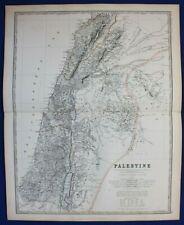 Large original antique map, PALESTINE, DEAD SEA, GALILEE, Johnston, 1886