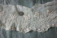 """Antique American Hand Embroidered White Work Muslin/Silk Trim~27"""" X 4.5""""~Dolls"""