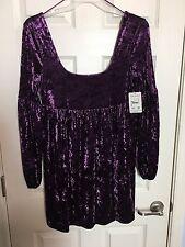 New FREE PEOPLE Sz M Purple Victorian Velvet Low Scoop Back Boho Knit Mini Dress
