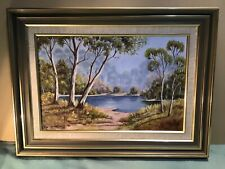R Rankine Blue Lagoon Oil Framed Painting Dated 1992