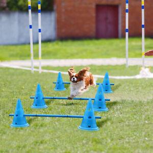 Dog Agility Hurdle Cone Set Canine Agility Training Set 6 Agility Cones & 9 Rods