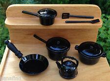 Miniature Dollhouse Fairy Garden Accessories ~ 10 Piece Black Pots & Pans New