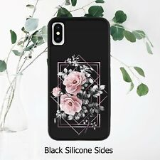 Geometrical Dark Floral Roses Black Case Cover iPhone Samsung Huawei Google*