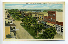 Kissimmee FL Florida (Osceola Co) Bird's Eye View, Broadway, stores, cars, early