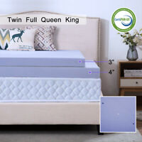 Memory Foam Mattress Topper 2.5/3/4 Inch Gel Ventilated Lavender Queen King Twin