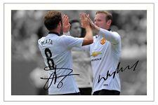 Wayne Rooney + Juan Mata Manchester United Firmada impresión fotográfica de fútbol