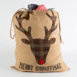 Large JUMBO Christmas SACK Stocking Luxury Jute Fabric Gift Bag Vintage Retro