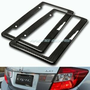 2 x Type-2 Real Carbon Fiber Weave License Plate Holder Cover Frame Universal