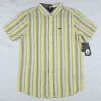 Volcom Men's Button Up Short Sleeve Shirt Pastel Yellow Striped Size: Large New