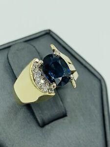 Estate 14k Yellow gold 1.25 Oval Sapphire Diamond ring size 5