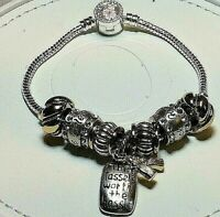 "Brighton Tassel's Worth The Hassle -7 Charms &7.5"" Bracelet Sale $43 Retail $86"