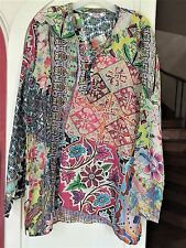 Johnny Was M Medium may fit L ROOMY Silk Print TUNIC Top Blouse AWESOME COLORS