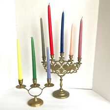 New ListingVintage Candelabras Brass Lions Tigers Embossed Candle Holders Candlesticks