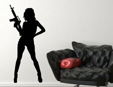 Armed sexy woman silhouette vinyl wall decal mural sticker US seller