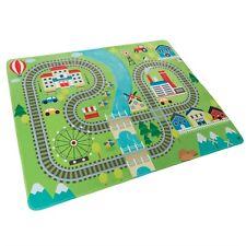 Baby Toddler Fleece Play Mat Foam Non Slip Railroad Train Tracks City Scene