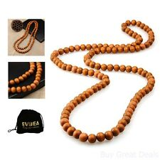 EVBEA Long Wood Necklace For Men Cool Charm Chain Necklace 12mm Bead Necklace
