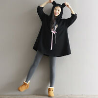 Kawaii Sweet Lolita Japanese Preppy Look Cute Ears Mori Girl Winter Hoodie Dress