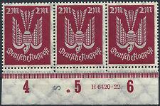 """MiNr. 216b im Dreierstreifen mit HAN 6420.22 und Druckerzeichen """"S"""" geprüft"""